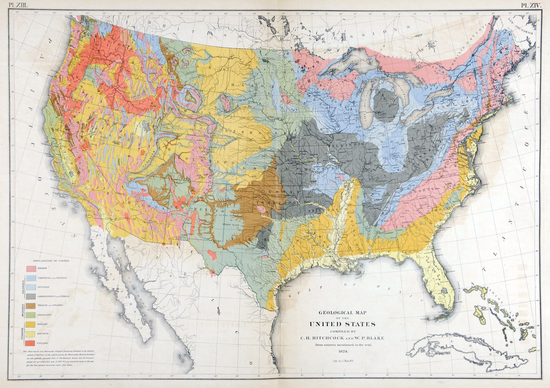 Geological Map Of The United States Compiled By C H Hitchcock - Isothermal map of us