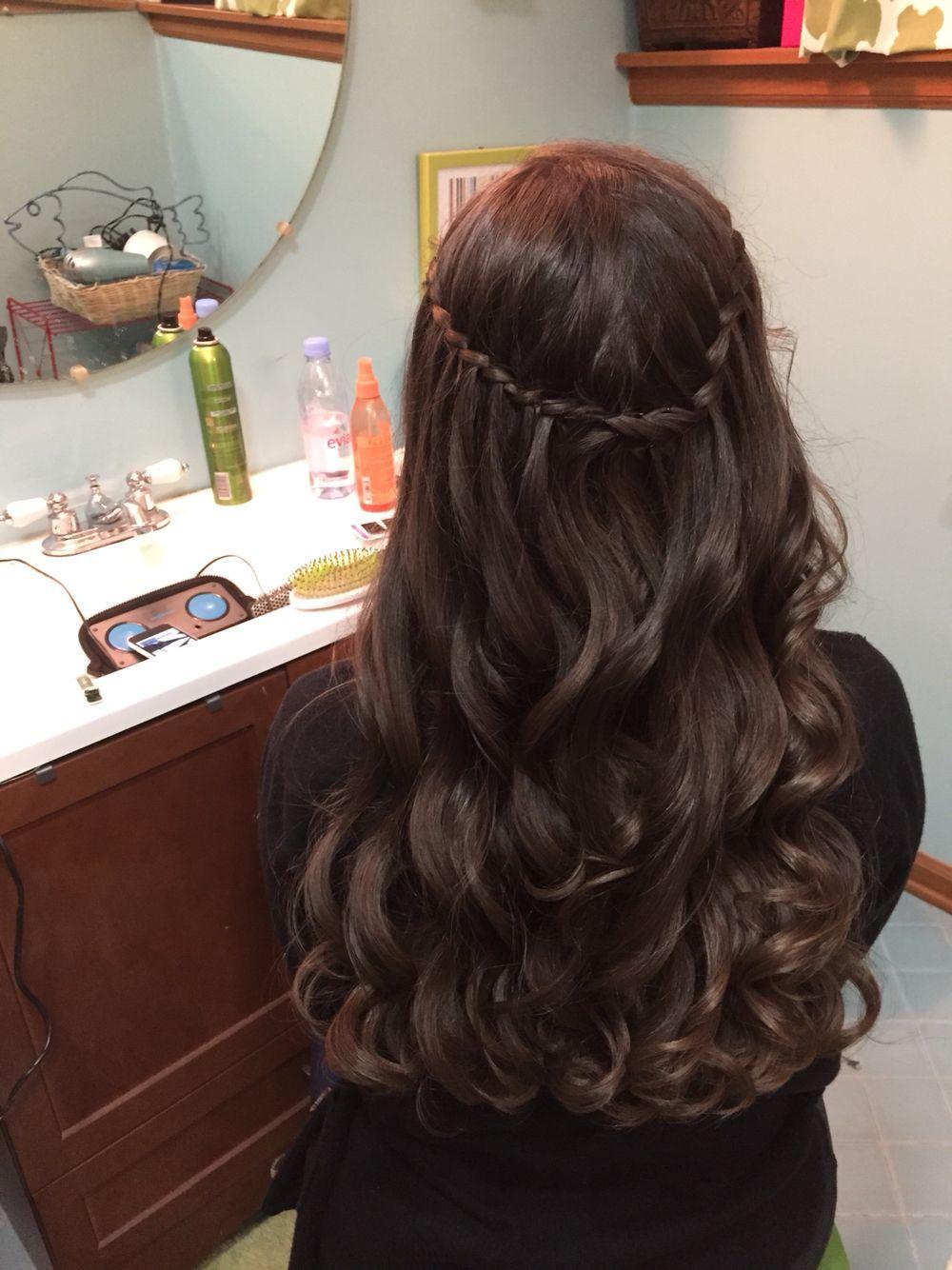 Waterfall braid with loose curls great homecomingprom hair hair
