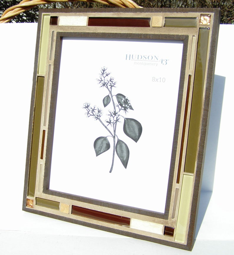 8 X 10 Glass Stone Picture Frame Brown Green Copper Manly Etsy Handmade Mosaic Frame Mosaic Frame