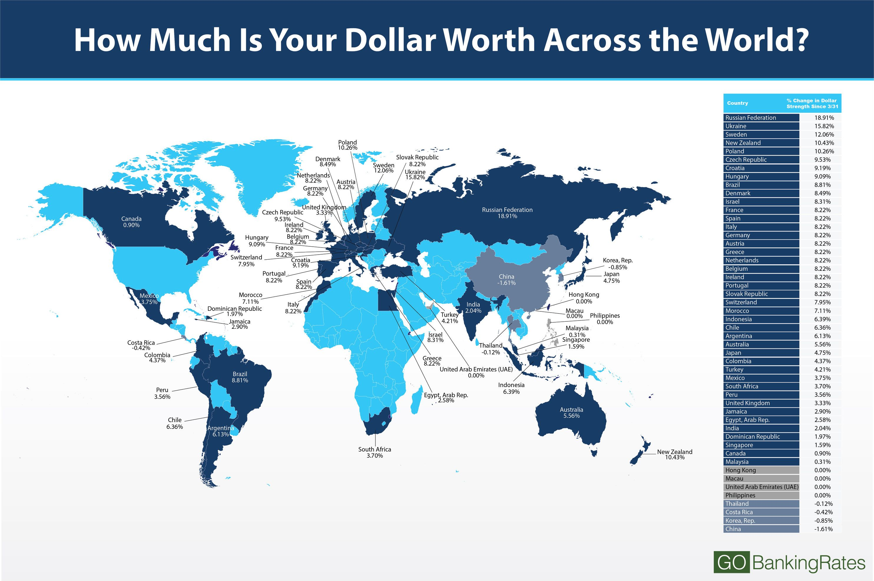 How much is your dollar worth around the world wander currency map 2 gumiabroncs Images