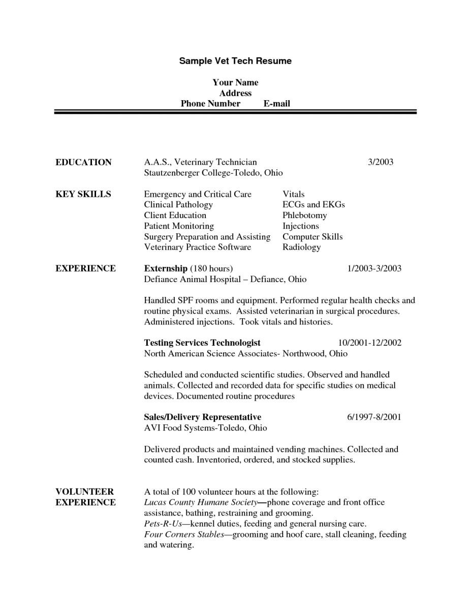 Veterinary Resume Samplevettechresumeveterinarytechnicianresumeexamples