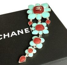 Chanel 2015 Cruise Flower Tier Brooch Blue Red Glass Gripoix Cc Hallmark... - $950.00