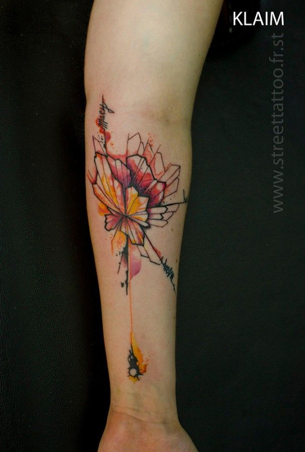 Flowers Tattoo By Klaim Street Tattoo: Abstract Geometric/geode With Pink And Yellow Watercolors
