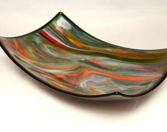 Decorative Colored Glass Bowls Multicolored Large Oblong Glass Bowl Unique Decorative