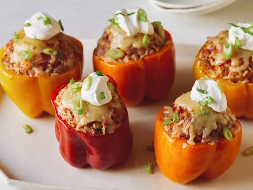 Slow Cooker Stuffed Peppers Recipe In 2020 Slow Cooker Stuffed Peppers Food Network Recipes Slow Cooker Recipes