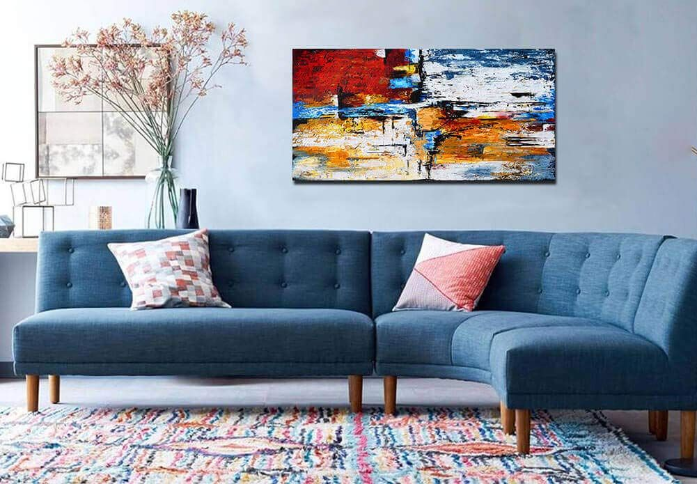 Amazon Com Abstract Wall Art Canvas Print Picture Painting For Living Room Large Blue Gray Brown Abstr Retro Living Rooms Best Corner Sofa Living Room Designs Amazon paintings for living room