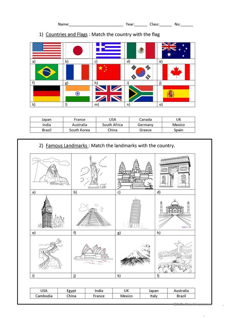 Countries and Capitals worksheet - Free ESL printable worksheets made by  teachers   Countries and flags [ 1079 x 763 Pixel ]