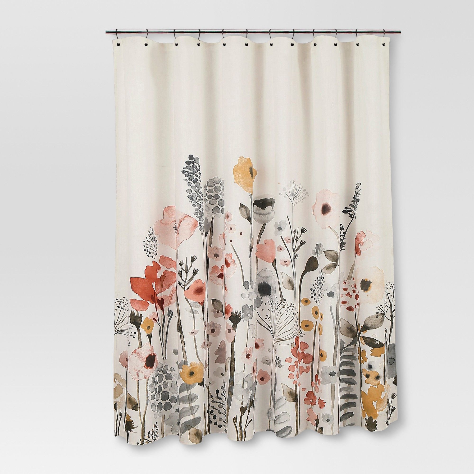 Shower Curtain Floral Wave Threshold Wave Dark Red Floral