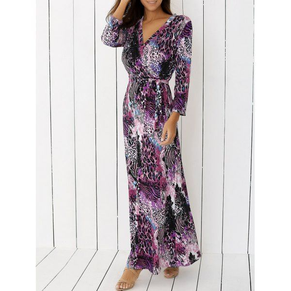 Bohemian Cheetah Print Faux Wrap Dress