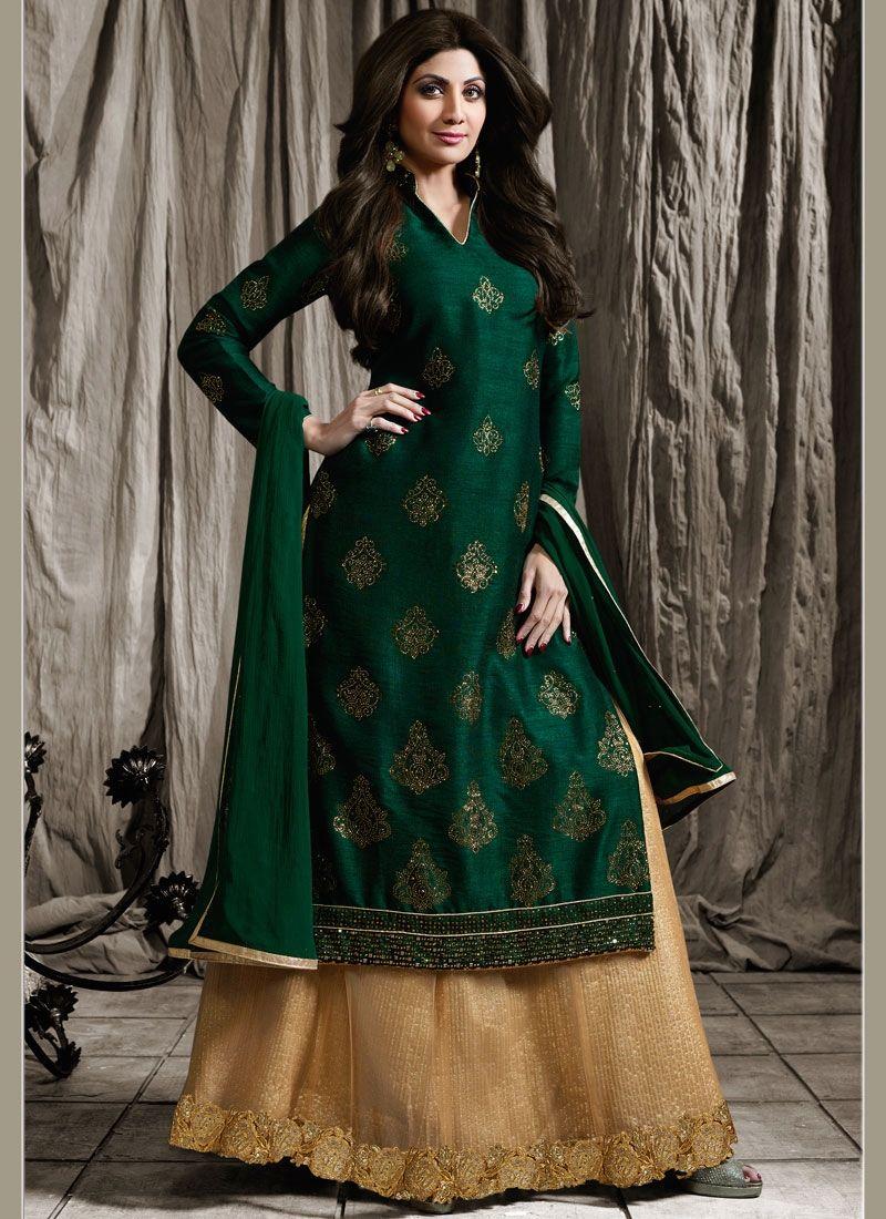 Shilpa shetty raw silk patch border work long choli lehenga a line