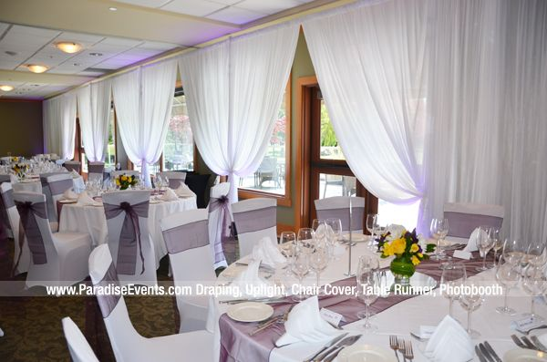Wedding Decor Vancouver Full Room Draping Centerpiece Flower Chair Covers Wedding Decorations Wedding Golf Clubs Decor