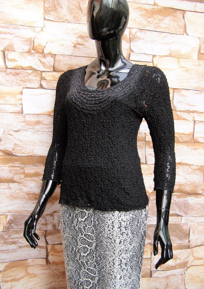 14cecea5595 Marks   spencer per una black stretch floral lace bead trimmed top ...