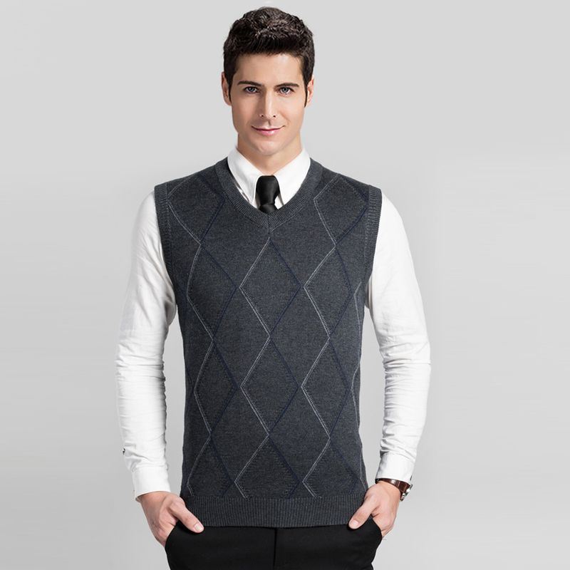 2016 New design autumn fashion V neck sleeveless mens argyle wool ...