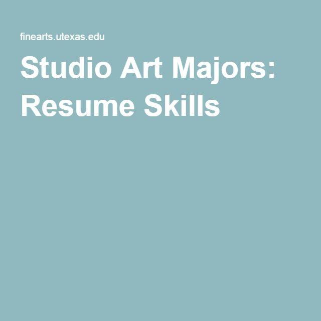 Studio Art Majors Resume Skills Resume Skills Resume Skills