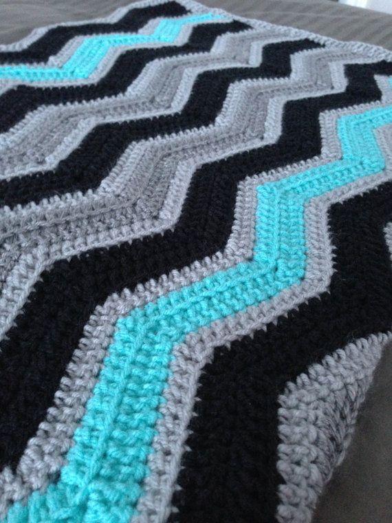 Chevron Crochet Baby Boy Blanket / Afghan Black Turquoise Grey ...