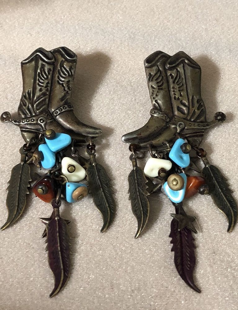 99 AUCTIONS Vintage Cowboy Boots Dangle Feather Large Earrings