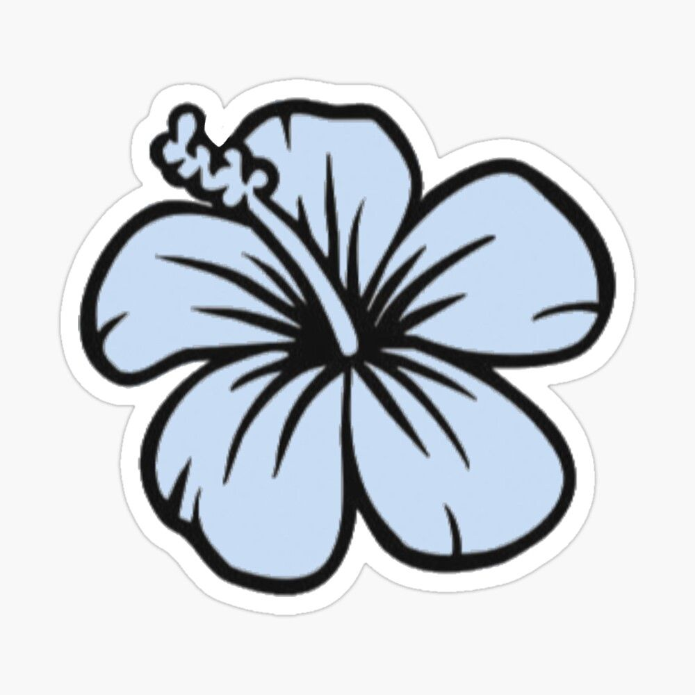 Pastel Blue Hawaiian Flower Glossy Sticker By Mcamore In 2020 Hawaiian Flowers Flower Icons Coloring Stickers