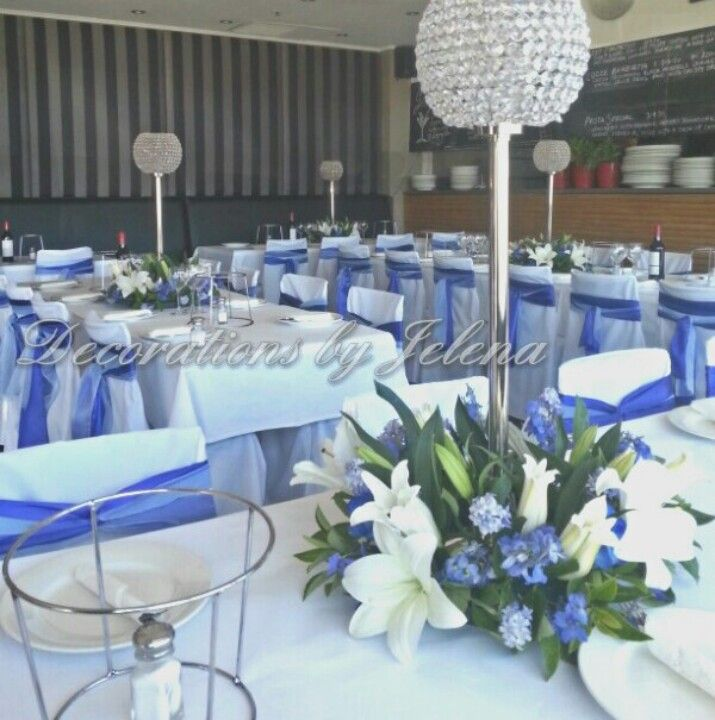 Blue and crystal centerpieces and sashes for boys first - Decoration table de communion ...