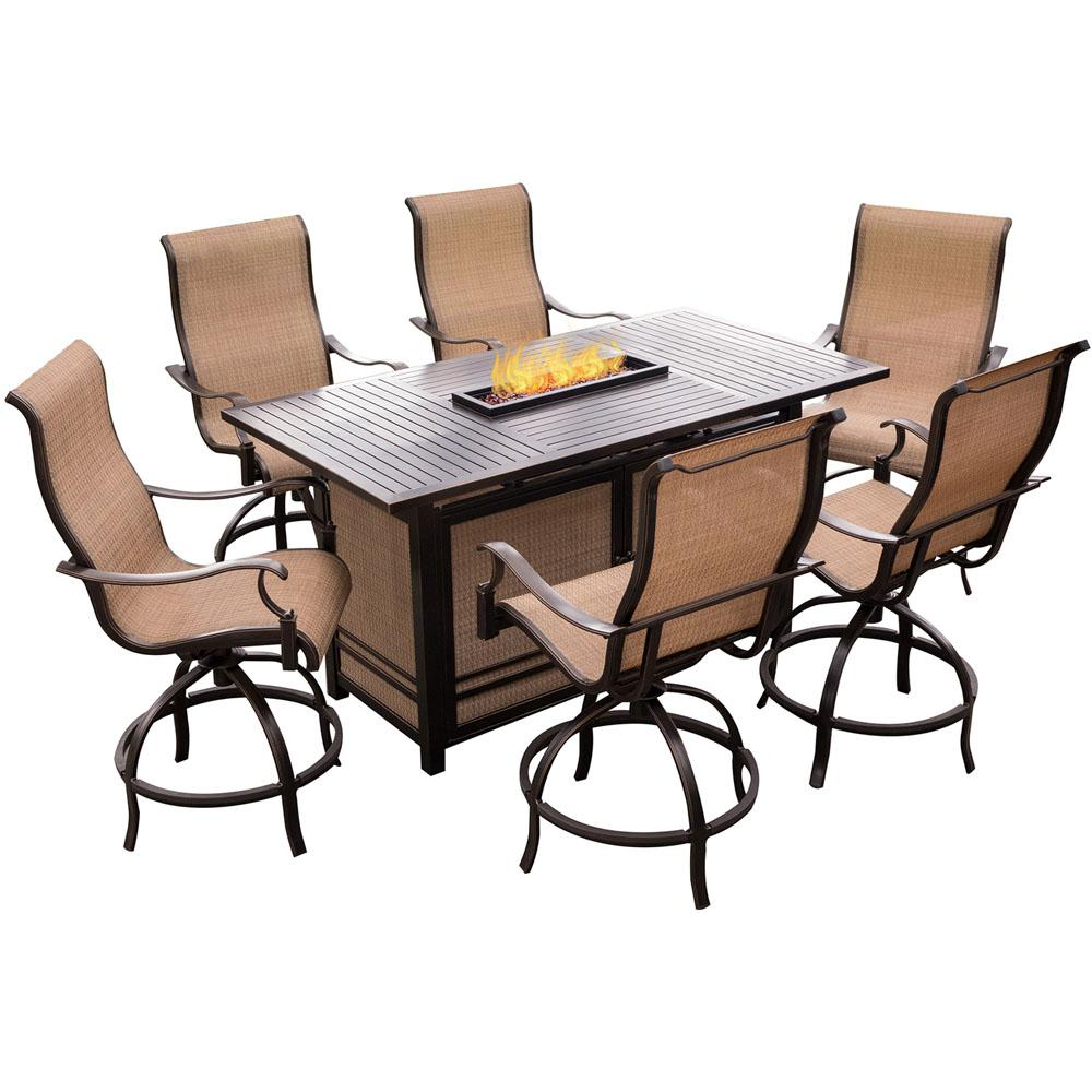Hanover Monaco 7 Piece Aluminum Outdoor High Dining Set With Rectangular Firepit Table And Contoured Sling Swivel Chairs Mondn7pcfp Br The Home Depot Fire Pit Table Set Agio Patio Furniture Fire Pit Dining High top patio table sets