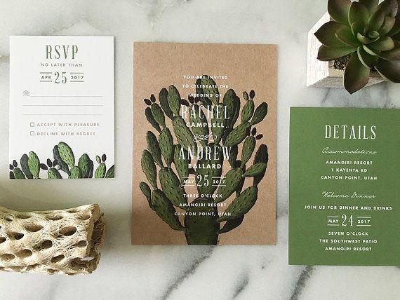 Wedding Invitations Az: Boho Desert Cactus Wedding Invitation
