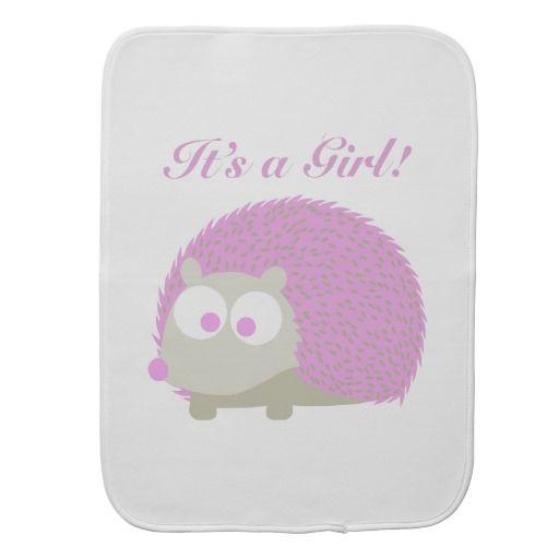 It's a girl! Hedgehog Burp Cloth