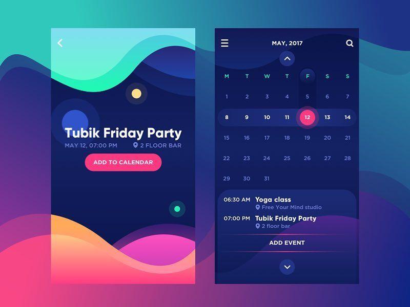 Bright Vibe Calendar by tubik http//bitly/2pRXz3z #design #ui #ux