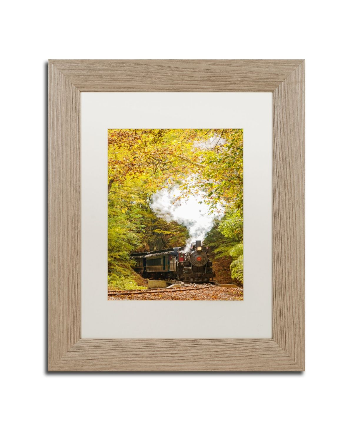 PIPA Fine Art 'Steam Train with Autumn Foliage' Matted Framed Art - 11 x 14 #autumnfoliage