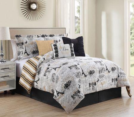 Paris Theme Gold White Black Add Hints Of Blush Pink Comforter