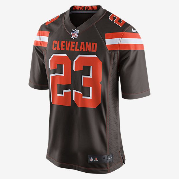 TEAM LOYALTY, EVERYDAY COMFORT. Rep your favorite team and player anytime in the NFL Cleveland Browns Game Jersey, inspired by what they're wearing on the field and designed for total comfort. Tailored Fit A tailored silhouette delivers a contoured, modern fit. Light, Soft Feel Silicone print numbers offer lightweight durability. Clean Comfort A tagless neck label provides streamlined comfort. Product Details Strategic ventilation for breathability Woven jock tag at front lower left TPU…