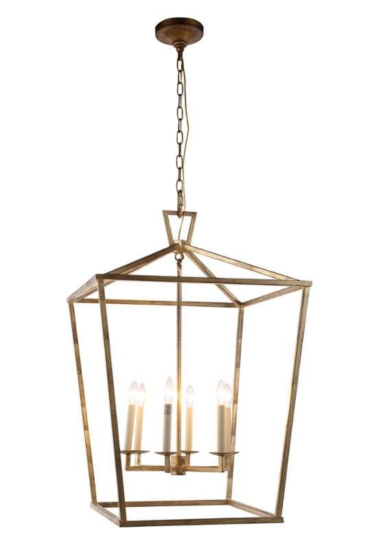 Denmark Golden Iron 24 Inch Six Light Pendant Lantern Lighting Ceiling