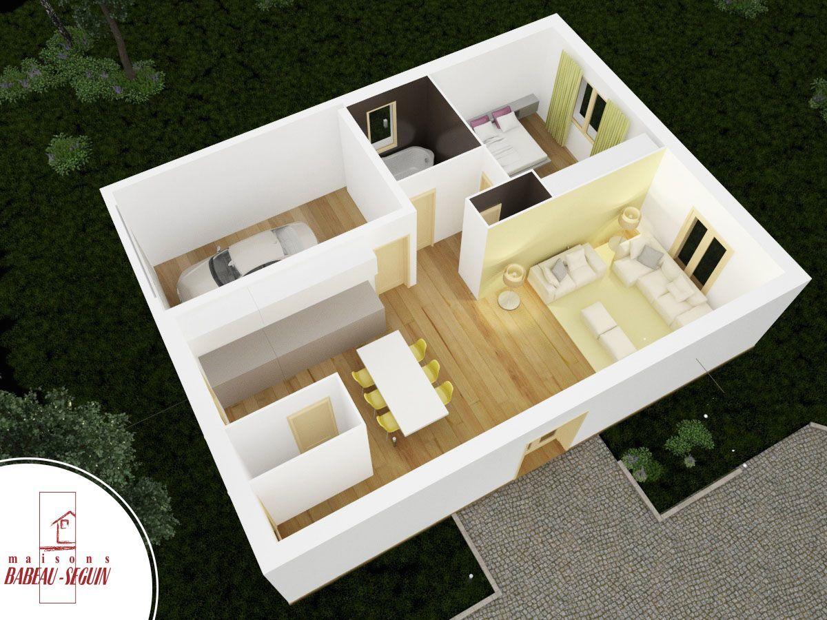plan de petite maison avec 1 chambre chez babeau seguin modle flavire
