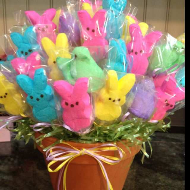 Peeps bouquet nice gift for the peeps lover on your list i love peeps easter bunny peeps on a wooden skewer wrapped in small cello bags flower pot with easter grass and a bow completes the centerpiece negle Gallery