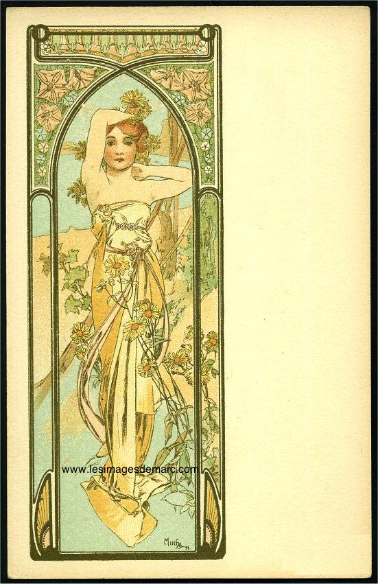 """Alfons Mucha, """"Eclat du jour"""". Carte postale extraite de la série """"Les heures du jour"""", 1899."""