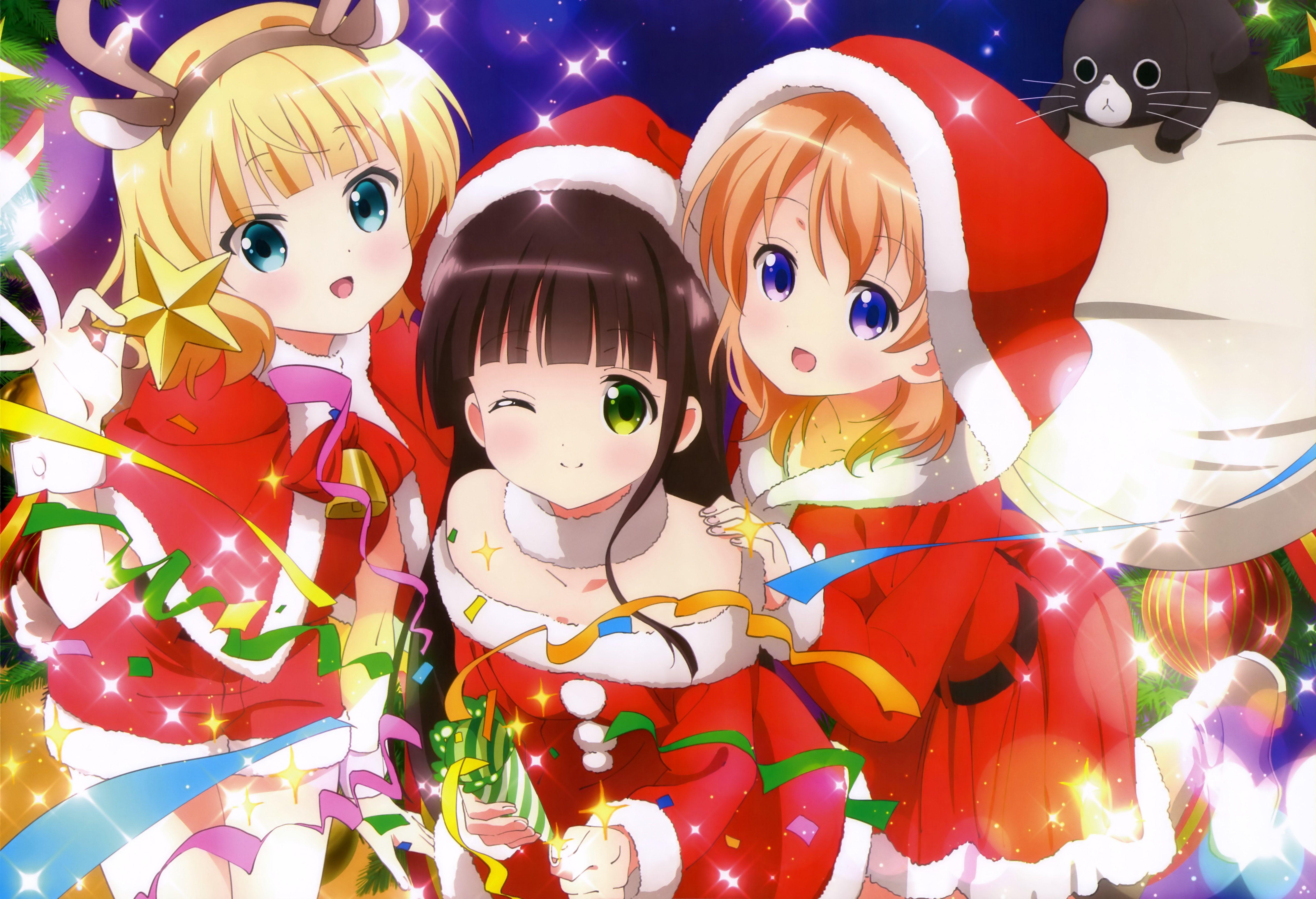 5975x4080 Free Screensaver Wallpapers For Is The Order A Rabbit Anime Anime Christmas Kawaii Anime