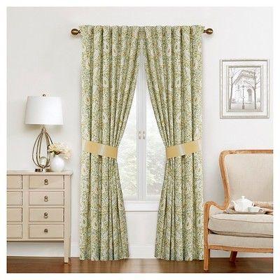 Waverly Curtain Panel Pair Green Yellow Ivory Paisley Window