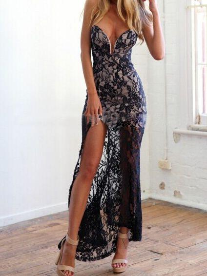 2bf461f9bd Black Lace Off Shoulder Bodycon Maxi Dress