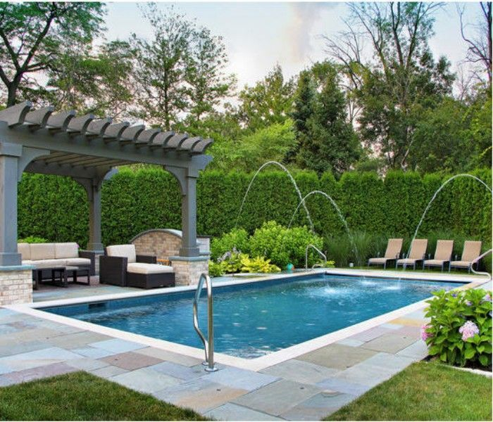Pool With Pergola And Firepit Pergoladesign Swimming Pool Designs Swimming Pools Backyard Backyard Pool Designs