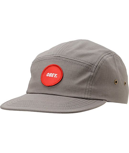 http://www.zumiez.com/obey-circle-patch-gun-metal-5-panel-hat.html