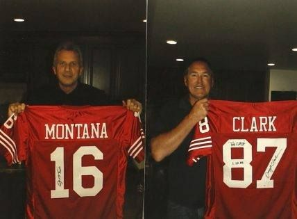 34e3c28bfe2 Joe Montana And Dwight Clark Signed The Catch 49ers Jersey On January 10  1982  1000