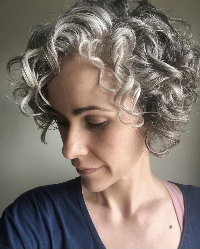 Silver Curls In 2020 Curly Hair Styles Short Curly Haircuts Curly Bob Hairstyles