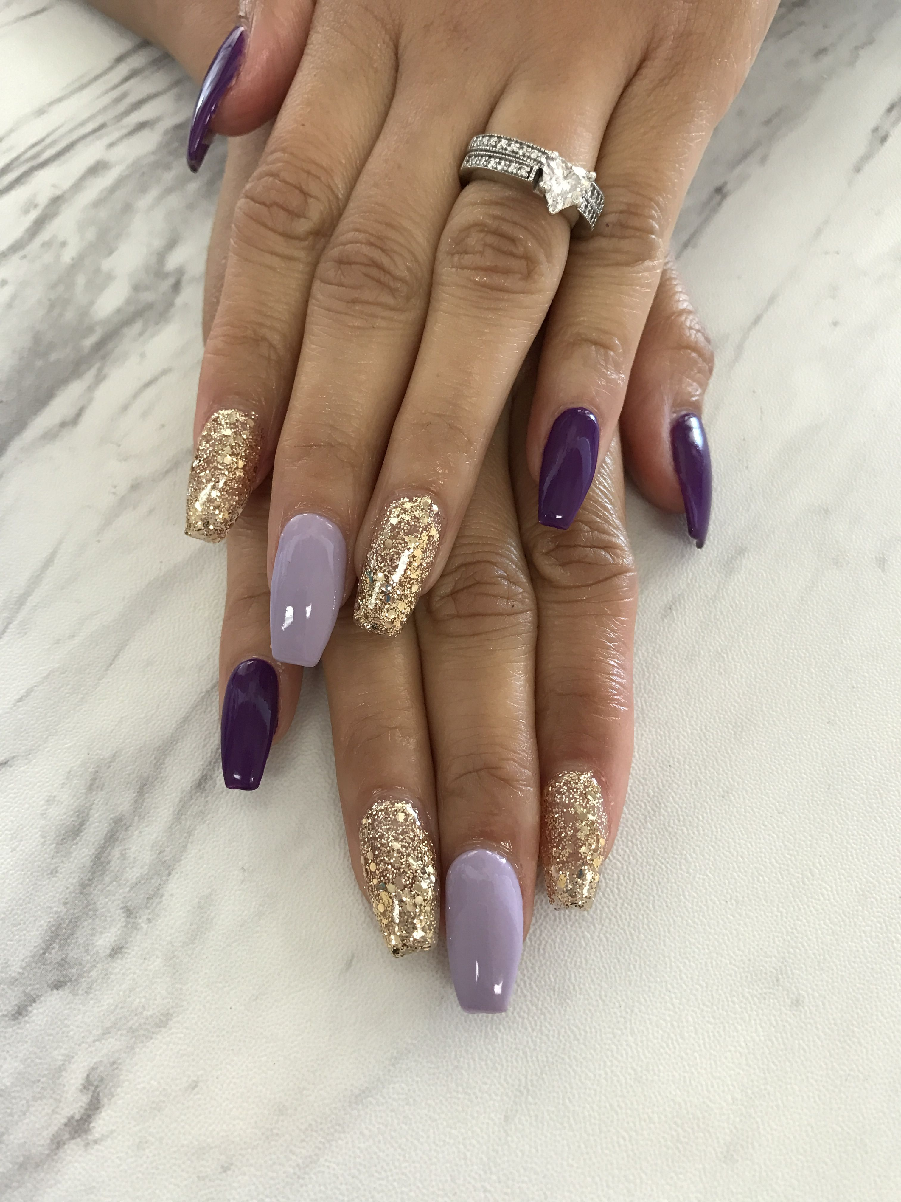 Purple And Gold Gold Acrylic Nails Purple Acrylic Nails Gold Nails