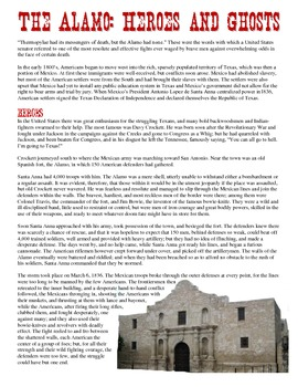 The Alamo: Heroes and Ghosts Reading & Worksheet | Mexican ...