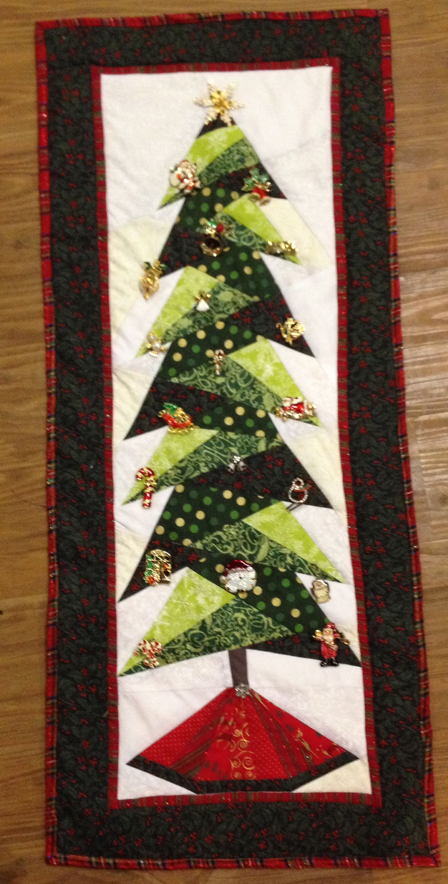 I Made This Paper Pieced Tree But Added Old Christmas Pins