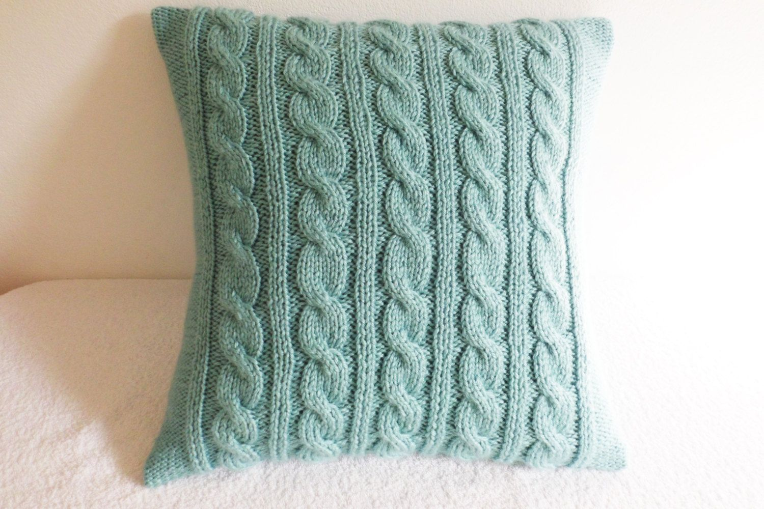 Decorative Mint Knit Throw Pillow Cable Knit Pillow Cover Hand Knitted Pillow Case Light Mint Couch Pi Knitted Cushions Knitted Cushion Covers Knit Pillow