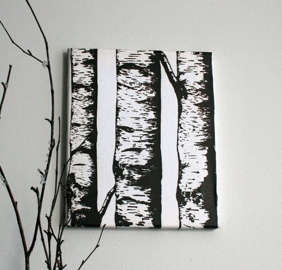 10 x 12 Canvas Gallery Wrapped Print of Birch by MadLoveShop, $25.00