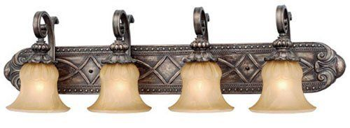 Selection Of Bathroom Light Fixtures: Vaxcel USA BGVLD004PZ Bellagio 4 Light Bathroom Vanity