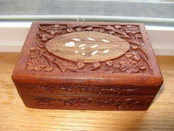 Bohemian Live Edge Stash or Jewelry Box Hand Carved 2 Drawer