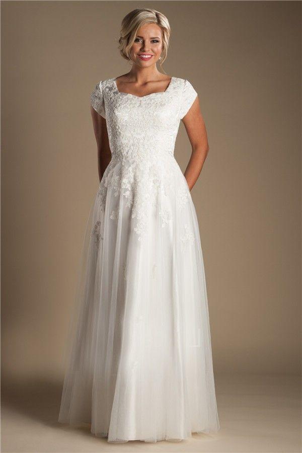 Modest Sheath Cap Sleeve Tulle Lace Wedding Dress Without Train Wedding Dresses Lace Wedding Dresses Modest Wedding Dresses