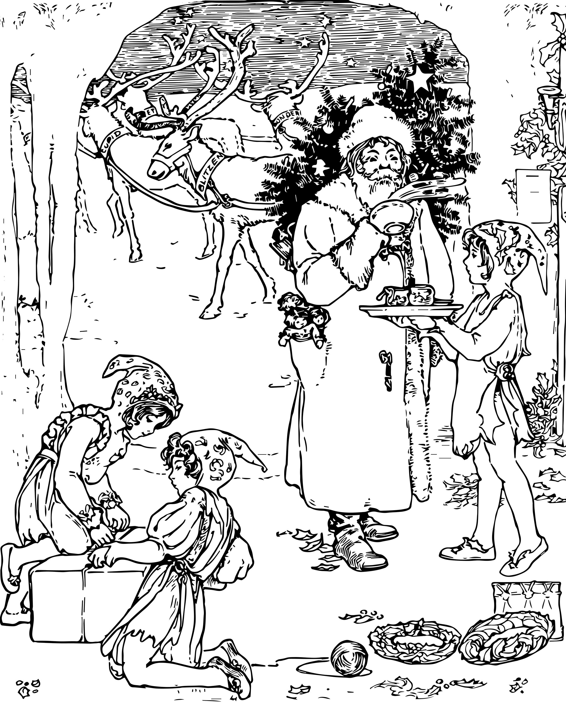 free vintage christmas coloring page for adults santa reindeer and elfs coloring pages for