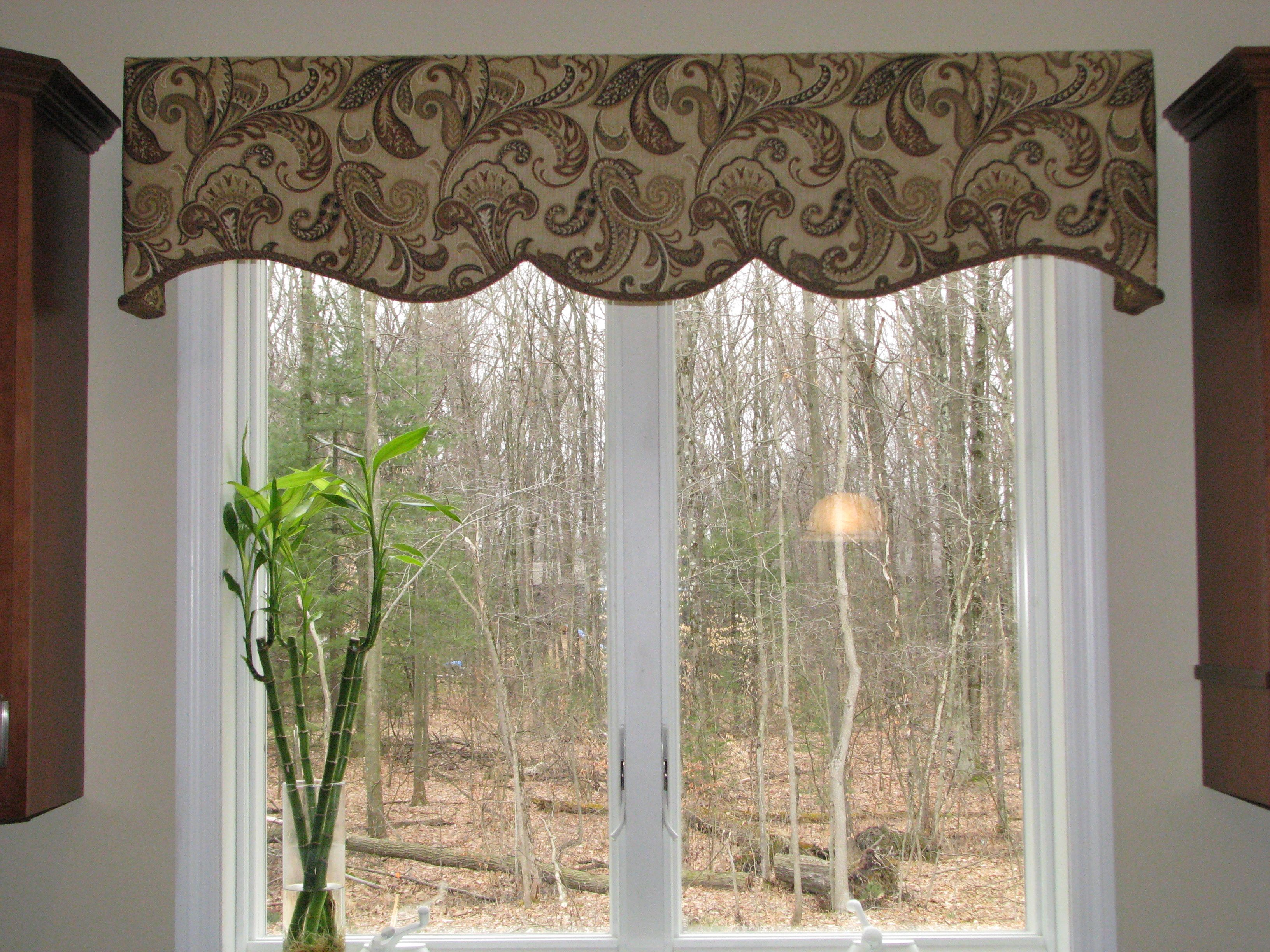 Shaped Cornice Design Over Sink Window Fabric Pattern Complements